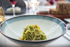 Burnt semolina tagliolini, calamari, green pea, bottarga. (God_speed) Tags: food modern point aqua dish harbour north sydney australian plate pasta gourmet seafood dining cbd tagliolini tagliatelle calamari milsons foodie epicurean kirribilli fettucini plateup epicurie dishedup