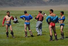 Mongolian Wrestlers Preparing for Fight