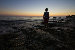 Kuba at sunset stone beach. (kondexxx) Tags: sunset beach istria croatia moody sony sigma sea mediterranean