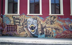 Scream (Stephanie Overton) Tags: plovdiv bulgaria europe travel film 35mm pentax epson scan buildings architecture graffiti art wall