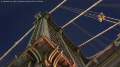Manhattan Bridge Tower (DSC02331) (Michael.Lee.Pics.NYC) Tags: newyork manhattanbridge tower architecture night twilight bluehour rivets cables stars lookingup sony a7rm2 voigtlandernoktonclassic35mmsc14