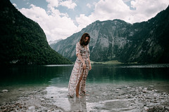 Konigsee (Alex Karamanov) Tags: portrait landscape light sun rock mountains mood atmosphere outdoor color vsco travel nature surreal people contrast grassland summer canyon trip hill mountainside ridge edge dawn melancholy konigsee alps lake trees tranquility sky clouds mountain girl water lady watercourse