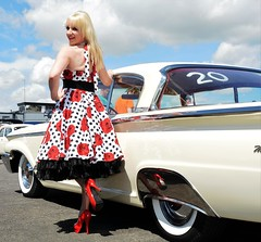Jackie_7393 (Fast an' Bulbous) Tags: blonde girl woman hot sexy car truck vehicle automobile hotrod santa pod dragstalgia dress petticoat high heels stilettos hotty chick babe model mature milf pinup nikon d7100 gimp custom