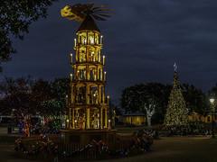 Rich Man. Poor Man. Two German Christmas Trees (keith_shuley) Tags: christmas christmastree pyramid german fredericksburg marktplatz olympus texas texashillcountry