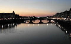 arno again (kexi) Tags: florence firenze florencja italy europe toscany tuscany arno river thebluehour water reflections sky blue bridge famous pontevecchio evening samsung wb690 october 2015 lights pink instantfave