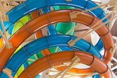 Slippery Rainbow of Slides (aaronrhawkins) Tags: slide water indoor park hotel wolflodge southerncalifornia colors geometry curves roof tubes pipes fun vacation aaronhawkins waterpark waterslide family
