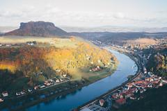 Autumn in Saxony (freyavev) Tags: saxony sachsen germany deutschland königstein autumn river elbe blue hills shadows landscape saxonswitzerland sächsischeschweiz vsco elbsandstein laba lilienstein