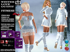 Winter love outfit (Zed Sensations) Tags: evemesh boots leg warmers dress mini short woollen wool lace coat jacket fashion apparel winter slim pulpy isis freya fine curvy maitreya eve fitmesh fitted mesh outfit tonic slink belleza virtual zed sensations