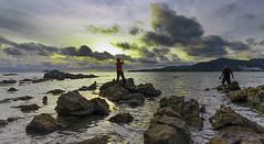 Rock River Sunset (<Pirate>) Tags: sunset sungai batu teluk bayu anglers fishing rock joy cloud nature november 20th 2016 1018 is stm lee gnd soft9 colors digital photography love kumbar bayan lepas penang