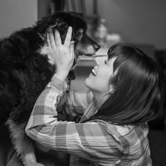Best friends... (christinemcroberts) Tags: besties bestfriends kiss love blackandwhite 50mm primelens nikkor nikond750 blacktri australianshepherd aussies aussie dogs dog