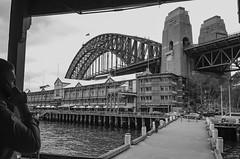 Walsh Bay Wharfs, by Sydney Harbour Bridge (i-lenticularis) Tags: 1100 fp4 leicam3 rewindphotolabdevscan summicron35f2v18element sydney f8 homerolled shot28oct2016