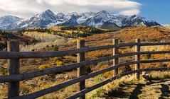 Let us permit nature to have her way. She understands her business better than we do (ferpectshotz) Tags: mtsneffels sanjuanmountains colorado autumn fallfoliage fallcolors ranch mountains crispair color yellow blue snowcappedmountains