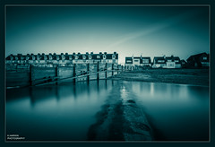 [][][][][][]_I__[]_[]_[] (Kevin HARWIN) Tags: water sea wet waves silk beach sand rock fence building house windows long exposure blue photoshop processing canon eos 70d sigma 1020mm lens whitstable bubble kent south east uk england britain