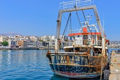 Fishing trawler, Crete (jack cousin) Tags: sea sky building tree port harbor boat nikon rust harbour hill rusty bluesky rope quay mooring hull fishingboat stern trawler tyre moored d610 ayiosnikolaos on1photos