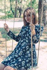 Diana (Ukrainian photographer) Tags: summer portrait woman color cute nature girl beautiful beauty hair nude idea nikon dress photoshoot bright outdoor pastel makeup bob style ukraine swing