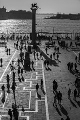 Aerial view of San Marco Piazza (Saint Marc Square): Shadow of tourist on the square (CloudMineAmsterdam) Tags: old city travel carnival venice sunset shadow summer people blackandwhite love tourism monument water statue sunrise buildings town weekend famous silhouettes landmark valentine medieval tourists canals unesco lamppost destination romantic historical venetian ducal venise venezia sanmarco touristic wingedlion europeitaly citybreak touristicattraction