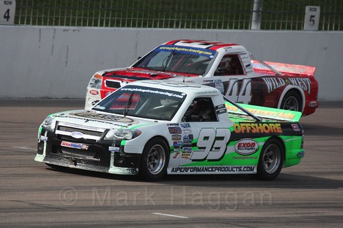 Michael Smith leads John Shorter in Pick Up Truck Racing, Rockingham, Sept 2015