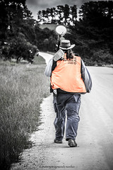 Land surveyor at work (Shutterbytes by Michele Hamilton) Tags: work walking australia southaustralia survey countryroad basestation johnstons glenburnie striding chambersroad september2015 alexandersymondssurveyors