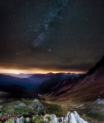 North Cascades Night Sky (oruwu) Tags: longexposure sky mountains night stars washington hiking horizon illuminated trail backpacking valley northcascades milkyway canoneos50d