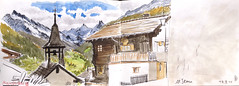 151018 Anniviers (Vincent Desplanche) Tags: mountain montagne automne watercolor schweiz switzerland sketch suisse swiss aquarelle sketchbook falls wallis valais neocolor croquis anniviers