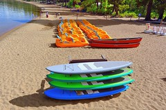 The Toys at Zephyr Cove  (Explore Oct 25, 2015 #245) (Joe Lach) Tags: trees lake beach sand kayak nevada laketahoe canoes kayaks southlaketahoe paddleboats zephyrcove joelach