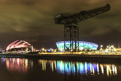 A Titan, an Armadillo next to the Hydro (Christophe Pfeilstcker) Tags: uk sky reflection night river scotland nightscape glasgow hydro titan xris74 pixpassion