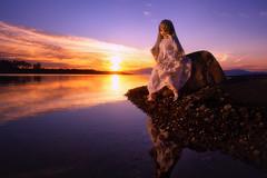 色づく空と穏やかな湖畔 (のの♪) Tags: sunset 夕陽 dd 夕日 夕暮れ 湖 琵琶湖 dollfiedream 湖畔