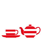 Cornishware_red_set_tea for one (Cornishware) Tags: red cup set illustration one teapot saucer
