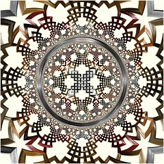 Star-Crossed (Ross Hilbert) Tags: art chaos digitalart mandala computerart fractal escher tiling generativeart hyperbolic mathart fractalart algorithmicart hyperbolicgeometry orbittrap henripoincare fractalsciencekit poincaredisk circleinversion hyperbolictiling