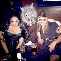 Wolfman on the prowl (JasonLee) Tags: costumes halloween werewolf halloweencostume showgirl wolfman ostrichfeathers beastiality zoophilia costumeball thebeastinme skinmask halloween2015