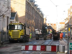 Tramlijn 3 (streamer020nl) Tags: 3 holland netherlands amsterdam crane nederland tram rails atlas centrum scania gvb asfalt kraan planciusstraat 2015 binnenstad haarlemmerbuurt tramlijn 261115
