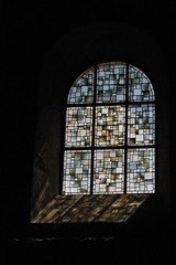 Stained Glass and Colour Reflections (john atte kiln) Tags: moissac reflections stained glass religion church christianity light painted craft colours colors tarnetgaronne midipyrnes france