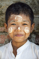 Cheeky (bag_lady) Tags: boy portrait mrauku rakhinestate myanmar burma burmese smiling thanaka paste sandalwood