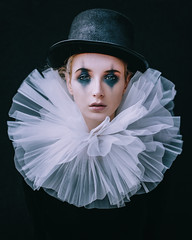 The sad clown (Adam Bird Photography) Tags: adambirdphotography adambird model makeup mua clowns circus hat neck collar portrait headshot face close studio natural light lighting carnival explore flickr eyes connection clown