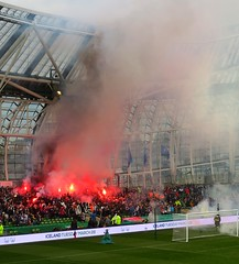 Dundalk passionate fans at LOI Cup Final (Photoblog.ie (Patrick Dinneen)) Tags: soccer football dundalk fc dundalkfc loi leagueofireland flare fan fans passionate fire stand aviva avivastadium dublin sport