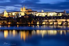 Charles Bridge and Prague Castle, Prague, CZ (cl.lin) Tags: nikon charlesbridge prague czechrepublic sunset bluehour reflections longexposure 2470mm nightphotography