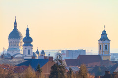 Tin roofs and cathedral spires (Raoul Pop) Tags: haze morning winter cathedrals spires trees towers architecture cityscape cluj tinroof historic rooftops clujnapoca transilvania romania ro