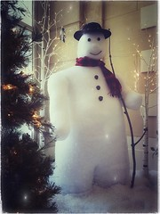 Coming Soon -94/100 (Firery Broome) Tags: stilllife snow snowman christmastree barebranches fakesnowman decoration decorative holiday winter winterscene vignette tableau 100x2016 100xthe2016edition image94100 artificiallight holidaylights white yellow red black brown green winterthur winterthurmuseum delaware everydayobject orange 365