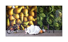 Homeless Man's Supermarket Pitch, East London, England. (Joseph O'Malley64) Tags: homeless homelessman eastlondon eastend london england uk britain british greatbritain underclass ignored bereft disinherited roughsleeping sleepingrough bike cycle pushbike cycleparking supermarket shop bedding possessions cyclelocks