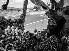 Street 216 (`ARroWCoLT) Tags: streetphotography sokak canon 700d balkesir man people blackwhite bw art insan human arrowcolt monochrome 24mm f28 bnwdemand bnwpeople bnw bnwstreet ishootpeople road bokeh blackandwhite outdoor pepper biber onion village vendor greengrocer ivrindi yeilky sun sunflower