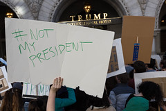 Not My President, Protesters outside Trump Hotel on Pennsylvania Ave, DC (Lorie Shaull) Tags: trump trumpinternationalhotel donaldtrump election2016 protest notmypresident washingtondc pennsylvaniaave