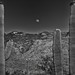 The Moon Rises Over the Rincon Mountains (Black & White, Saguaro National Park)