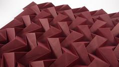 Chevron Corrugation (UD-DU variant) — close-up (Michał Kosmulski) Tags: origami corrugation tessellation chevron zigzag muranopaper michałkosmulski red bordeaux claret