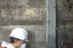 wall and pole 1 (Justin van Damme) Tags: wall pole metal cinderblock dirty cleaning grey dust mask white hard hat