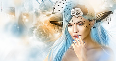 Leed d Fryle | Fairy whispers... (AyE  I'  voT) Tags: digitalart digitalpainting digitalfantasy painting artworks portraits beauty illustrations artportrait ritratto retrato portrature dreamy vision magical emotionalart emotional fairescollection fairy faires blue guapaaaaaaaa  slcalendargirlsnovember2016