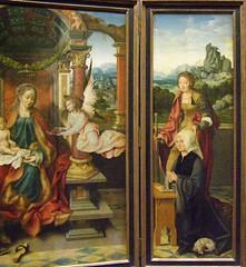 Joos van Cleve, Winged Altarpiece, c 1530 (DeBeer) Tags: kunsthistorischesmuseum khm vienna wien austria art painting netherlandish flemish joosvancleve lategothic renaissance northernrenaissance virginmary babyjesus saintjoseph saintcatherine saintgeorge donor triptych altar altarpiece 1530 1520s 16thcentury 16thcenturyart 16thcenturypainting panelpainting early16thcentury