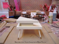 New mid century step tables in 1/6th and a sneak peek at what's next. :) (wpnschick) Tags: midcenturymodernminiature barbiefurniture 16thscale playscale modernminiature