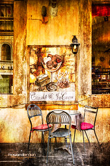 Chocolatier... (Howard Brown Photographic) Tags: chocolate chocolatier urban street city photoart digital art tables chairs chair table ice cream cafe hdr textures texture