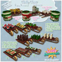 [LJ] Chilly Cheer Gacha (Tala Laval) Tags: christmas second life feast cheer holiday party chocolate santas sled crock pots cider chili cornbread