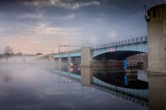 veterans memorial bridge (Christian Collins) Tags: veterans bridge baycity michigan mi fog morning amanecer river saginaw m25 canon t2i efs24mm
